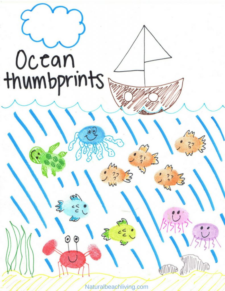 photo regarding Printable Ocean Animals known as Thumbprint Ocean Pets with Ocean Concept Printables