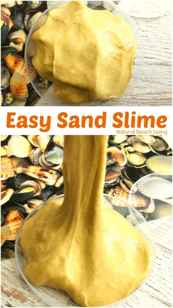 This Sand Slime is easy to make and kids love it, Homemade Sand Slime Recipe, How to Make Sand Slime, Sand Slime with Borax, Jiggly Slime Recipe for a Beach Theme, Ocean Theme or any summer theme activity, DIY Sand Slime for Summer Science