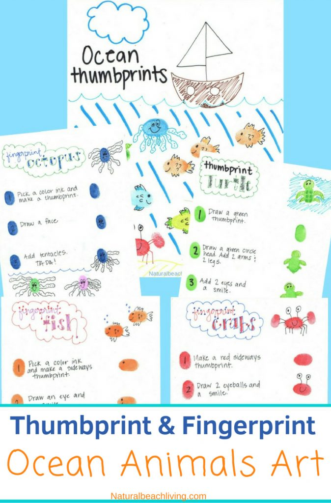 Thumbprint Ocean Animals, makeFingerprint Art Animals with your kids with a free printable tutorial to make it easy for you. Easy to follow step by step directions. Add these Ocean Animal crafts to any ocean theme, These thumbprintanimal pictures are adorable. fingerprint animals pictures, how to make fingerprint animals