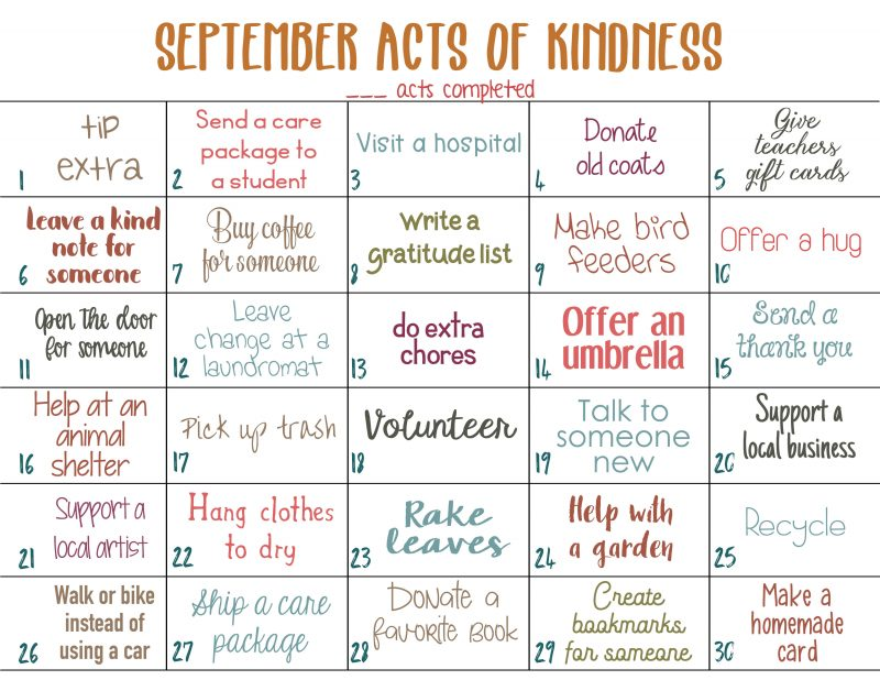September Random Acts of Kindness Calendar, This September Random Acts of Kindness Calendar is a fun and easy way to spread happiness throughout the month. This acts of kindness calendar has lots of fun ideas inspired by the fall season. Find simple and creative ways to spread joy around your neighborhood this month.