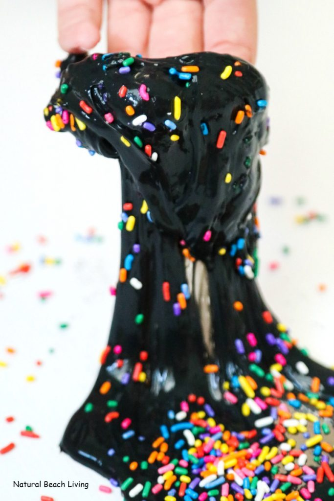 30+ Best Slime Recipes and Slime Videos, How to Make Black Slime and How to make slime with glue and paint, An Easy Birthday Slime, This Rainbow Slime starts with a basic black slime recipe, You'll have a black super jiggly slime recipe