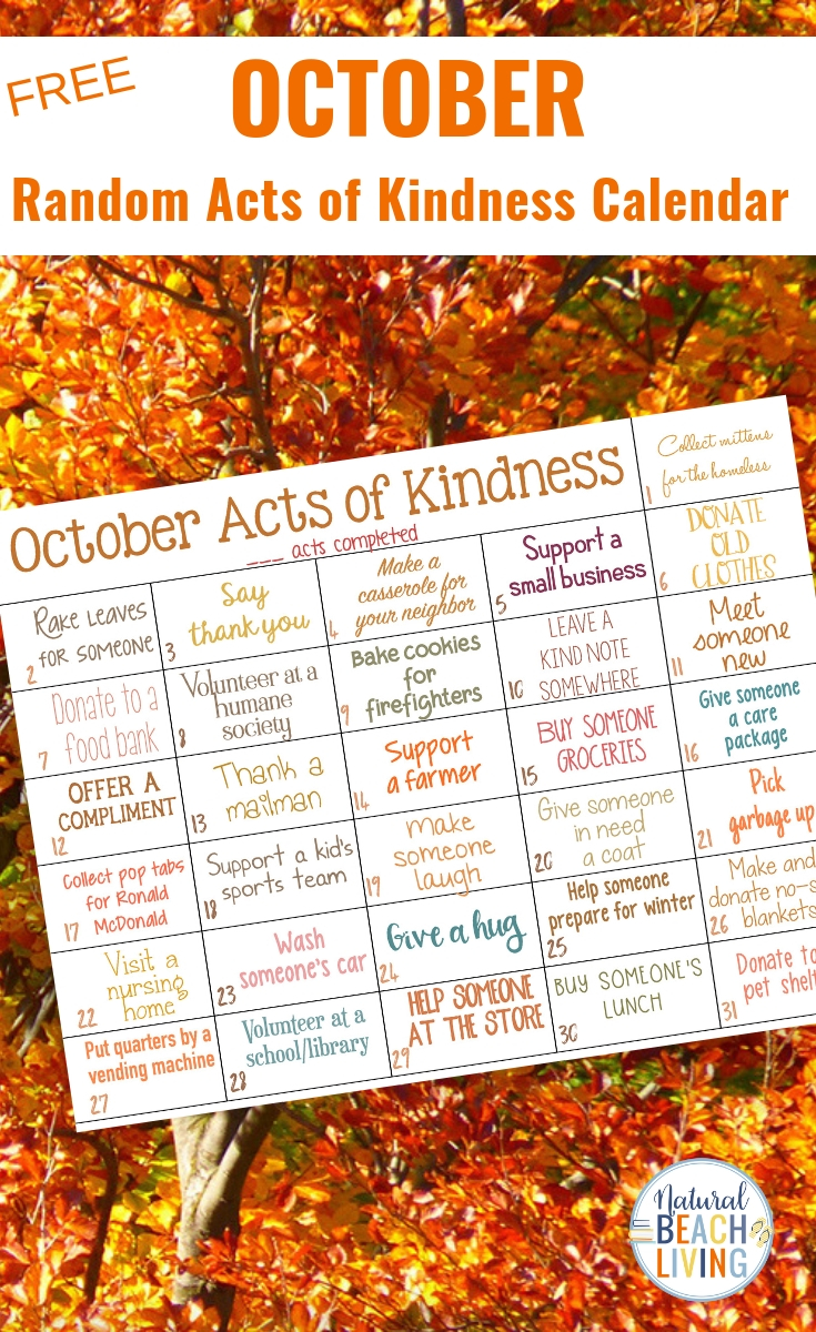 Random Acts of Kindness Calendar for October, This Fall Random Acts of Kindness Ideas Calendar is a fun and easy way to spread Kindness, A Perfect October acts of kindness calendar full of fun ideas inspired by the fall season. Find simple and creative Random Acts of Kindness