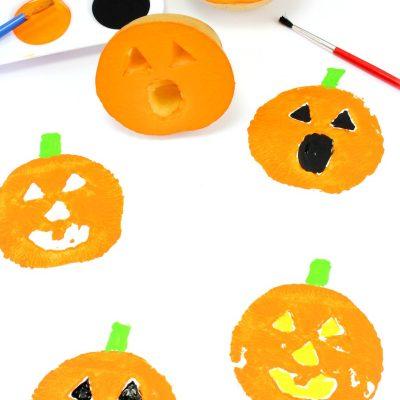 Potato Stamping Pumpkins Preschool Activity