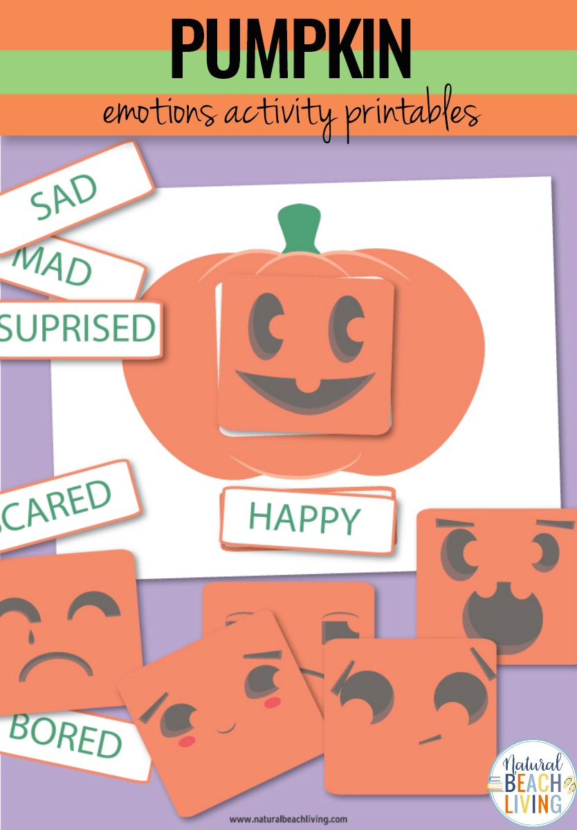 Emotions Activities, Preschool Emotions Printables and Preschool Pumpkin Theme Printables, In this fun Pumpkin activity,you'll be helping kids learn with different faces on a pumpkin. These Emotions Activities Pumpkin Faces are cute, fun, and free printable activities