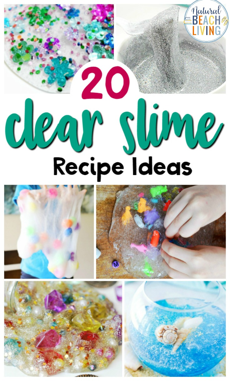 25+ Clear Slime Recipe Ideas, including how to make clear slime and slime videos, you can learn about slime science, find clear slime recipe without borax, clear slime recipe with contact solution and so many FUN homemade slime recipes.