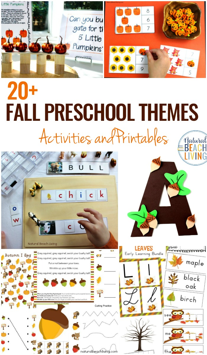 20+ October Preschool Themes with Lesson Plans and Activities, Fall Themes for Preschool with hands on activities and printable lesson plans for pumpkin science, Farm Theme, Leaf Theme, space activities, Plus, Preschool Weekly Themes and a Free Printable List of Themes for Preschool