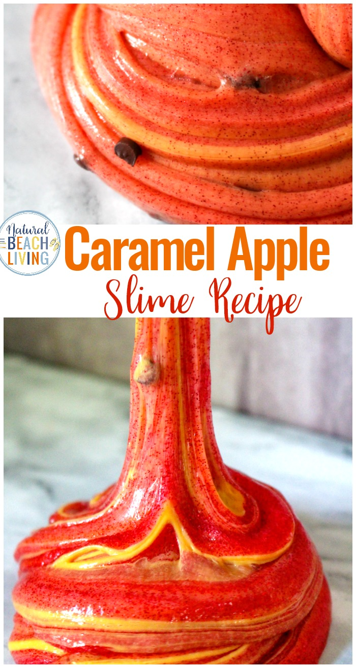 This Caramel Apple Slime Recipe with Contact Solution is perfect for fall. This is of the best smelling contact solution slime recipes you'll ever make during the fall season. How to Make Clear Slime, kids will love playing with this stretchy Caramel Clear Slime Recipe
