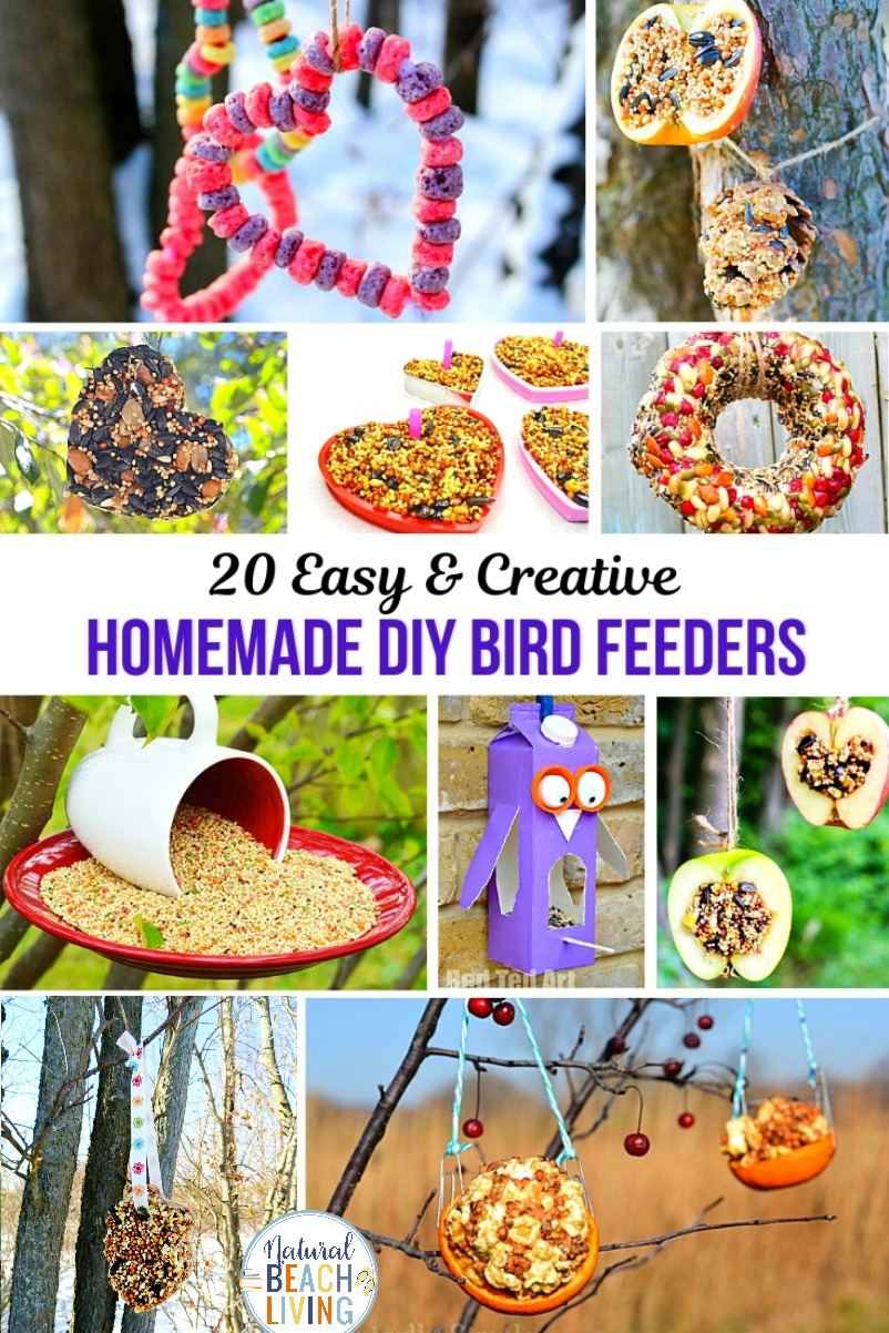 20+ Homemade Bird Feeders, Bird Feeders for Kids, These Homemade Bird Feeders and birdseed ornaments are easy to make and they look so nice hanging on the trees. Your kids will love making Apple Bird Feeders, Pine Cone bird feeder and Bird Seed Ornaments
