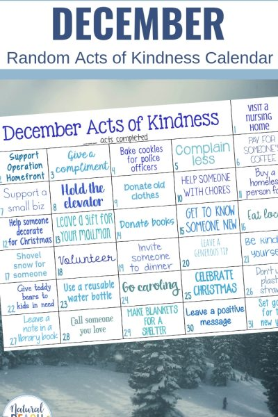 Random Acts of Kindness Calendar for December