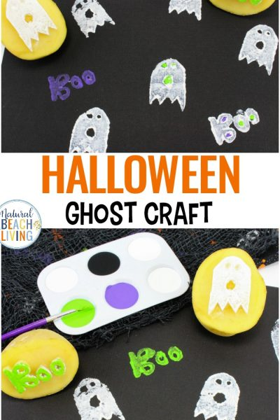 Ghost Potato Stamping Craft for Halloween