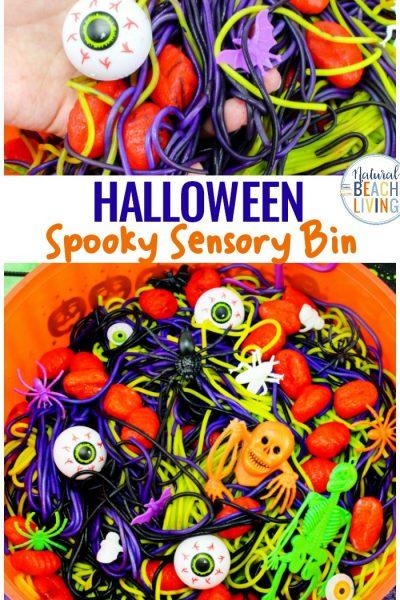 Halloween Sensory Bin Ideas – Halloween Spaghetti Sensory Play