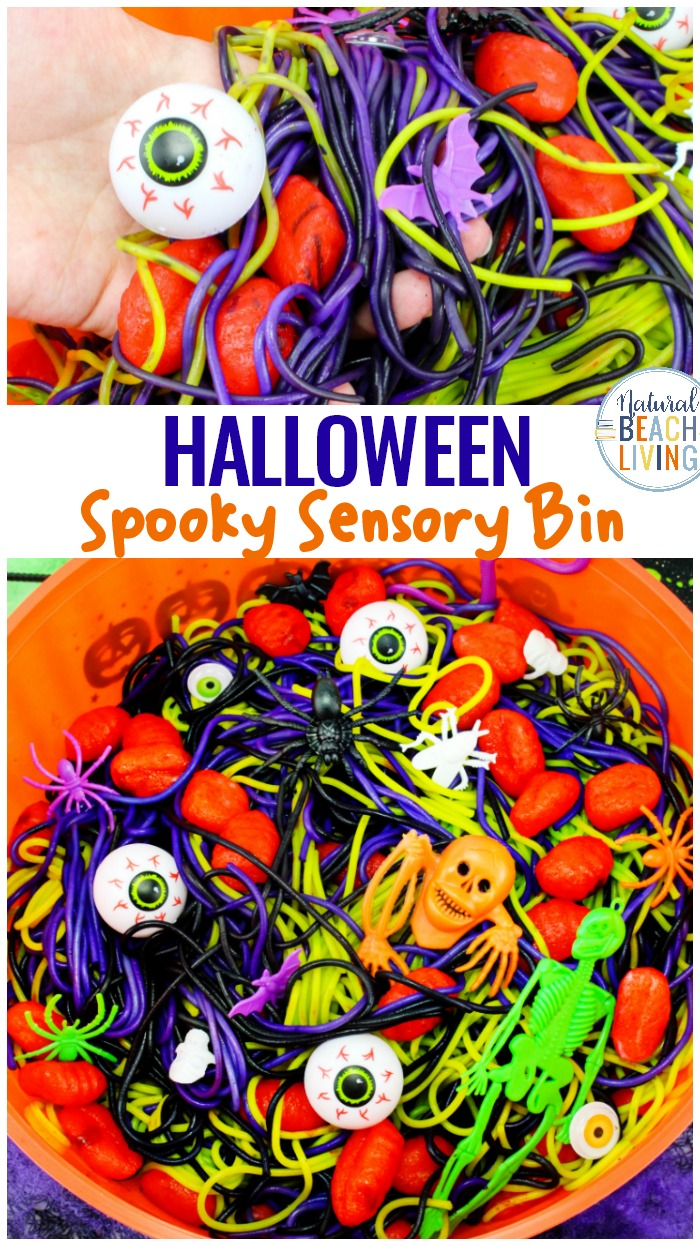 Halloween Sensory Bin Ideas with Colored Spaghetti and Brains, Halloween Sensory Play Activities that are scary, squishy, slimy, gooeyfun for kids. Halloween Party Ideas, Play with super creepy Halloween sensory bins, or make it a sensory mystery bin experience