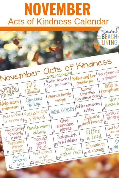 Random Acts of Kindness Calendar for November