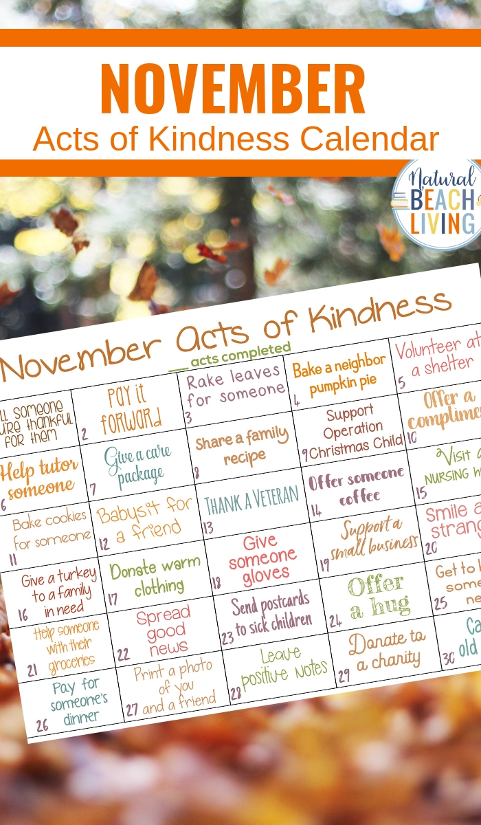 Random Acts of Kindness Calendar for November, November Kindness Calendar, show gratitude and promote kindness with these Random acts of kindness ideas for Fall, This Monthly acts of kindness calendar is full of fun ideas
