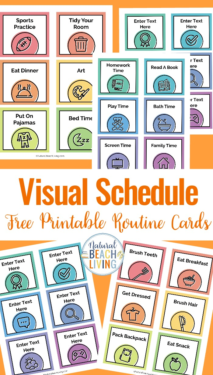You'll find several Free Visual Schedules and Free Printable Picture Schedule Cards here, Plus Daily Visual Schedule, Editable Visual Schedules, tips on homeschooling Special Needs and Autism, 10+ Visual Schedule Printables for home & school, Visual Schedule Printable