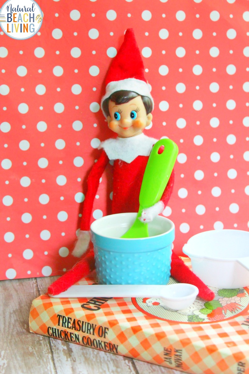 Elf on the Shelf Ideas for the Kitchen, These Elf on the Shelf ideas will keep your children happy and save you time energy and money. Easy Elf on the Shelf Ideas and lots of Elf on the Shelf ideas for toddlers, lots of Elf on the Shelf tips and tricks on how to enjoy this family tradition in a relaxed low key way.