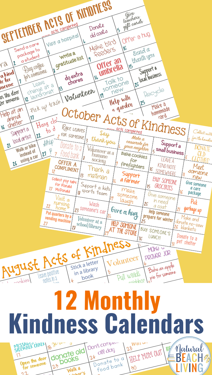 Random Acts of Kindness Calendar for every month, Random acts of kindness ideas, This Monthly acts of kindness calendar is full of fun ideas
