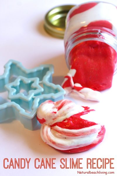 Candy Cane Slime Recipe with Contact Solution