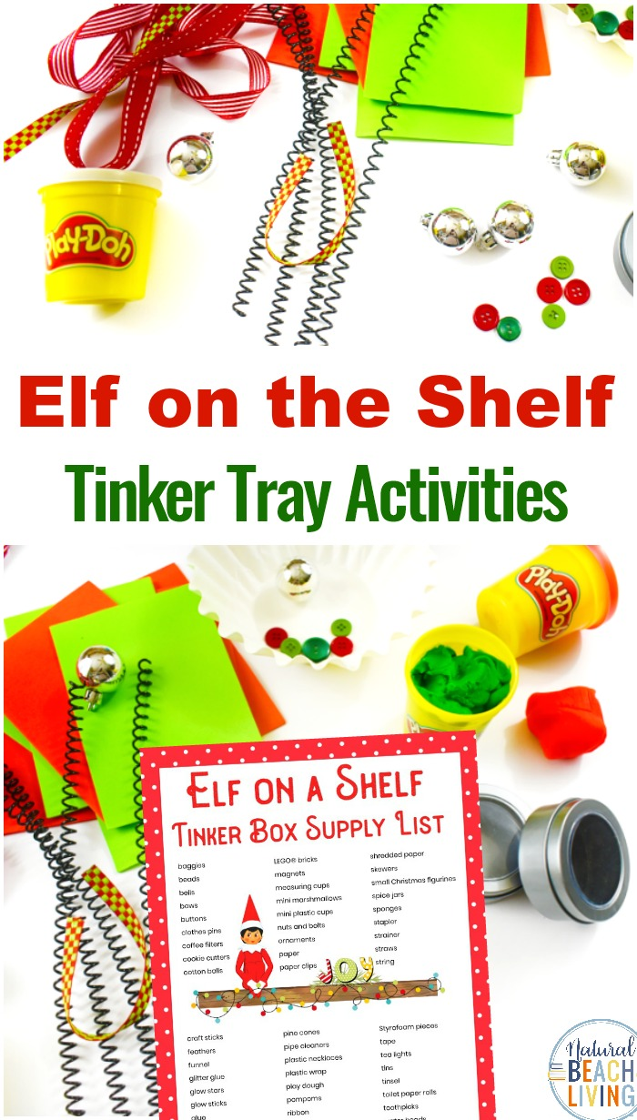 Elf on the Shelf for Toddlers and Preschoolers, This is perfect for Christmas STEM, Elf on the Shelf Ideas, Elf on the Shelf Arrival Ideas, You'll get STEM for Preschoolers and Kindergarten, free Elf on the Shelf printable Christmas Tinker Tray Ideas, DIY STEM projects for kids with Elf on the Shelf