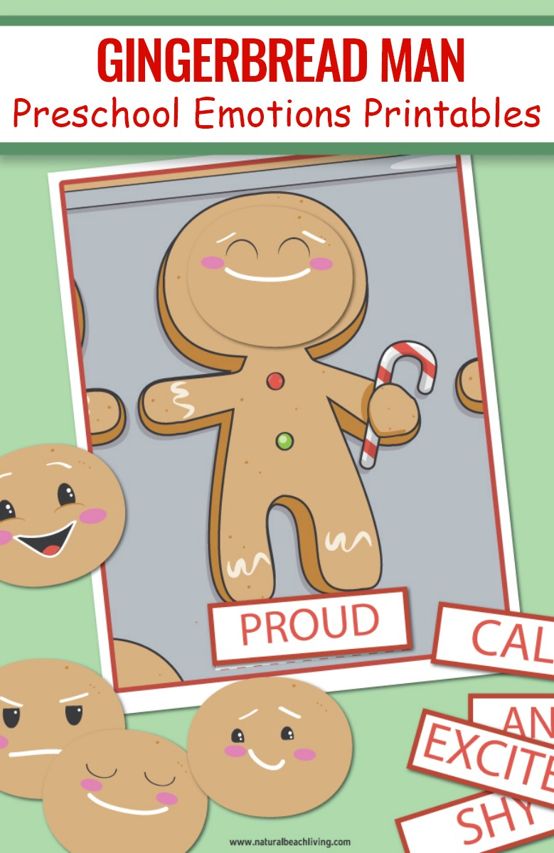 Gingerbread Man Preschool Emotions Printables, emotion cards, emotion cards printables, free printable emotion cards, Emotions Activities and Preschool Gingerbread man Theme Printables, In this fun Gingerbread man activity, you'll be helping kids learn feelings and emotions with different faces and visual cards.