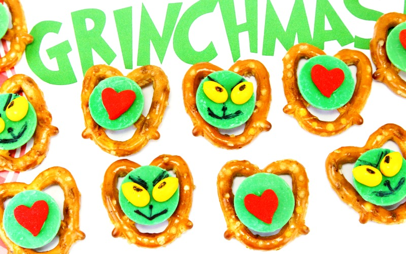 Childrens Christmas Party Food Ideas.Grinch Pretzel Snacks