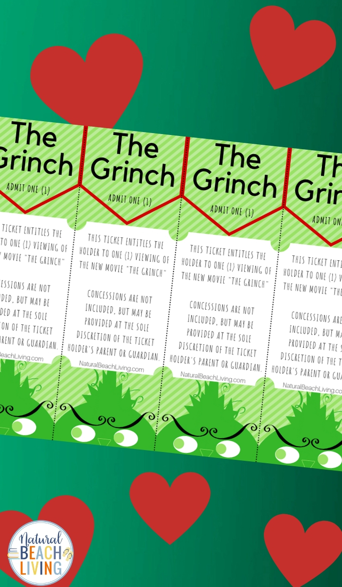 photo regarding Free Printable Movie Tickets named Free of charge Grinch Printable Things to do Video Tickets - Organic