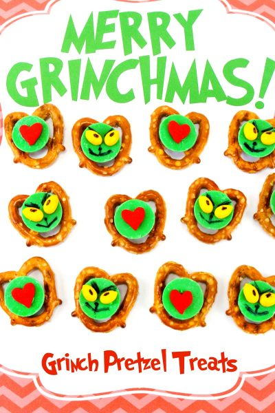 Grinch Christmas Treats – Grinch Pretzels