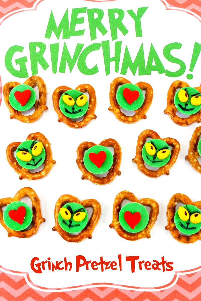 Grinch Christmas Treats, Grinch Pretzels, Grinch Snacks, Grinch Party Food Ideas, Serve these up for a Grinch Party, an afternoon snack for kids, or take them to your neighborhood Christmas party for everyone to snack on. These delicious Grinch Pretzels are a bite-size treat everyone wants to eat.