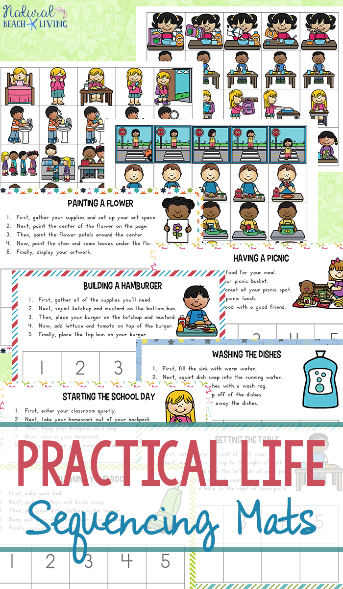 Practical Life Skills Sequencing Mats, Life Skills sequencing cards are a great way to help children and adults practice sequencing skills.These life skills sequencing mats will also help children to learn life skills, Perfect for Autism Printables, Visual Cards and Special needs centers