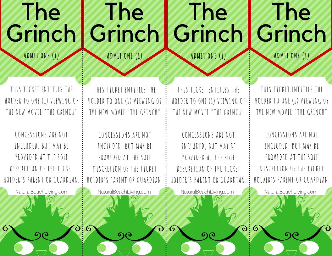 Free Grinch Printable Activities Movie Tickets for a family movie night or Christmas Movie Gift Idea, Grinch Activites for Kids, You'll find everything you need for Grinch Party Ideas, Grinch Snacks, Free Grinch Printables, Grinch Cake, Grinch Crafts we have it all.