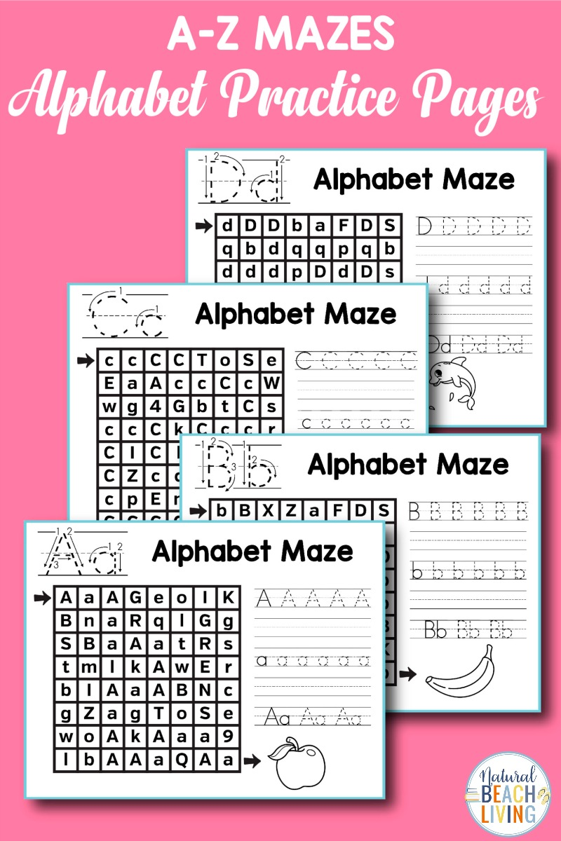 These Alphabet Mazes Practice worksheets are perfect for Preschool and Kindergarten letter recognition, letter sounds, handwriting, with hands-on learning, and early literacy. Alphabet Worksheets, Learning the alphabet, Letter of the Week activities