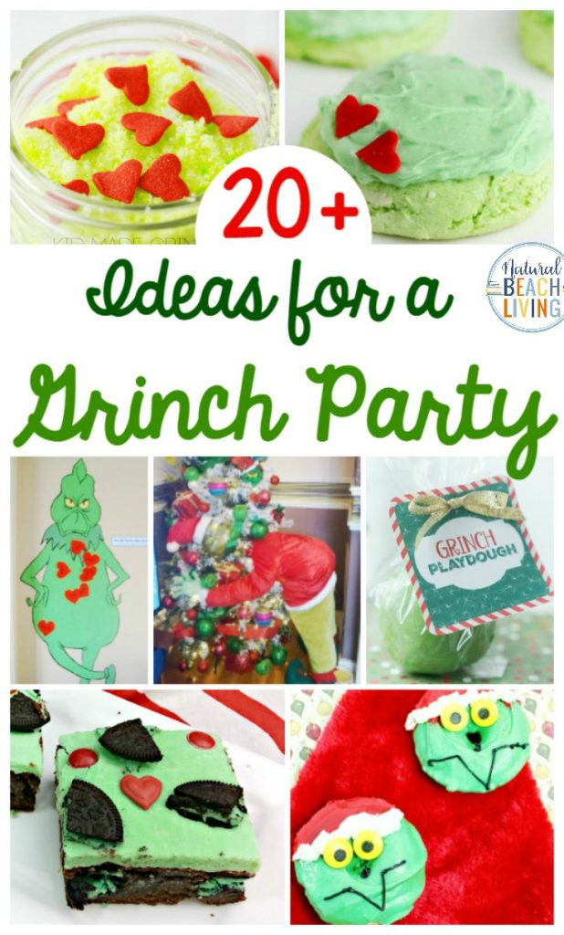 Create the ultimate Grinch holiday party with these awesome Grinch Party Ideas. You'll also find Ginch games for your next Grinch Christmas party or classroom activity. As well as Grinch playdough, Grinch Slime, Grinch decorations and so much more. The Best Grinch Party Food Ideas too. Dr. Seuss Party Ideas