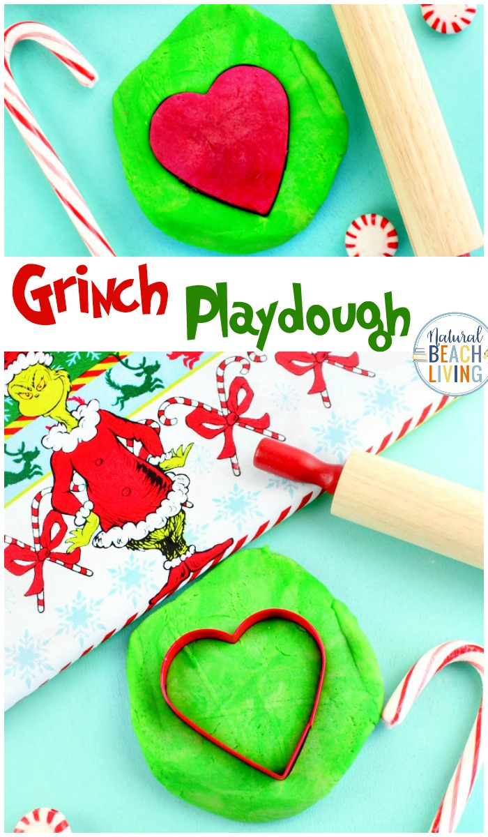 Grinch Playdough, How to make Playdough, Get ready for holiday fun with these Grinch Activities and Homemade Playdough, This Grinch playdough recipe will keep the kids busy for hours, and if your kids enjoy playdough like mine, you can extend this recipe into a month of sensory activities.