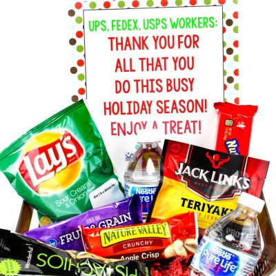 Random Acts of Kindness Christmas Basket – Delivery Driver Snack Sign