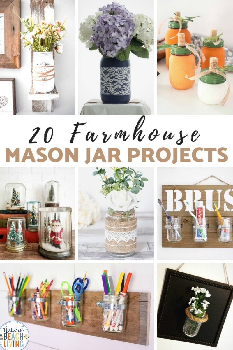 DIY Farmhouse Mason Jars can be so simple and inexpensive to make, but they look great. These DIY Mason Jar Ideas are so fun and functional. Farmhouse Mason Jar Projects are perfect craft ideas to freshen up your house on a low budget.