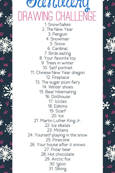 January Drawing Challenge for Kids and Adults