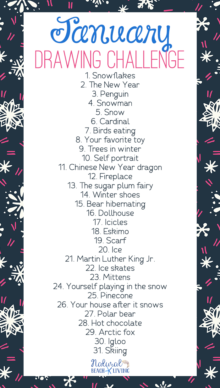 January Drawing Challenge for Kids and Adults, 30 Day Drawing Challenge, You can set the timer and spend 10 minutes a day drawing, or you can let your creativity run wild with these winter drawing prompts. Monthly Drawing Challenge and Drawing Challenge List with Free Printable
