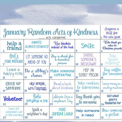January Random Acts of Kindness Ideas Calendar