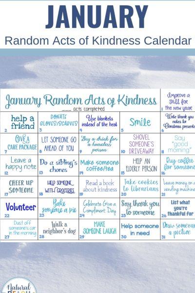 January Random Acts of Kindness Ideas Calendar
