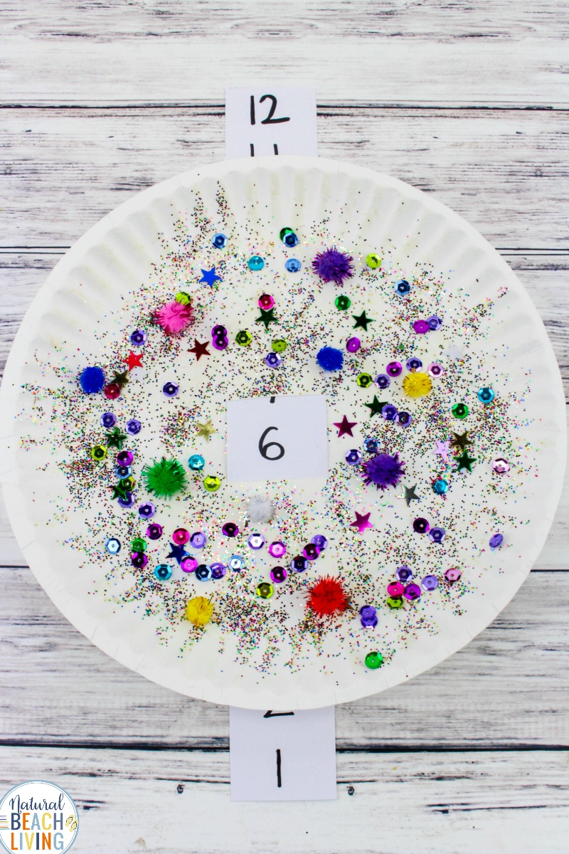 New Years Eve Countdown Paper Plate Craft for Kids, Paper Plate Craft, Countdown to New Year's Paper Plate Craft for Children to Celebrate New Years. Homemade New Years's Eve Decorations and Crafts for Kids