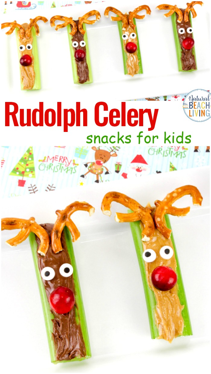 Rudolph Celery Snacks, Christmas Snacks, Christmas snack ideas, Healthy snack ideas for kids, Celery snack, This is an easy to make Healthy Christmas Snack for Kids and a perfect Christmas party food