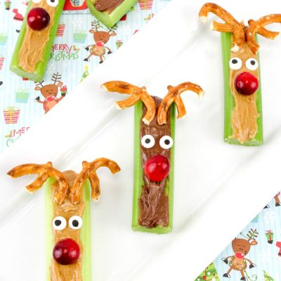 Rudolph Celery Snacks – Healthy Christmas Snack Idea