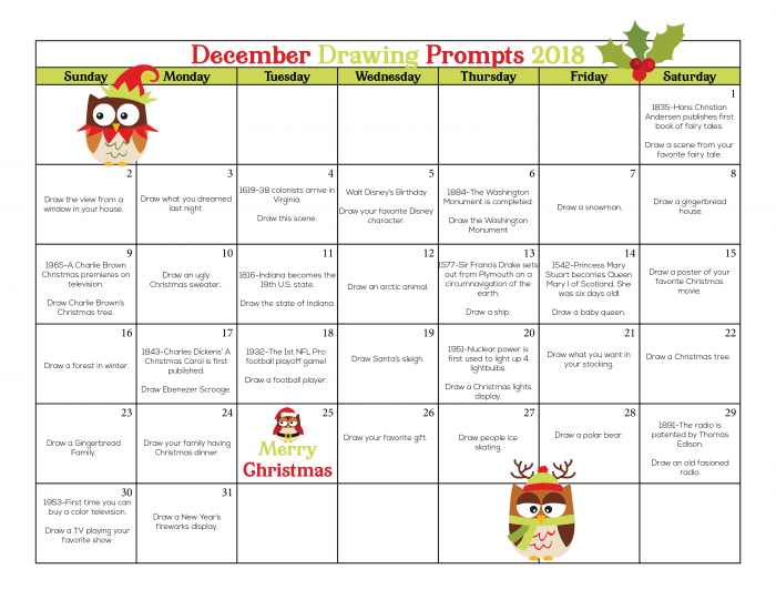 December Drawing Challenge, Drawing Challenges, 31 Days with 31 Topics and 31 different drawing challenges for kids or adults. With this challenge, you will get lots of drawing ideas to challenge yourself to art each day for the month of December. 30 Day Drawing Challenges