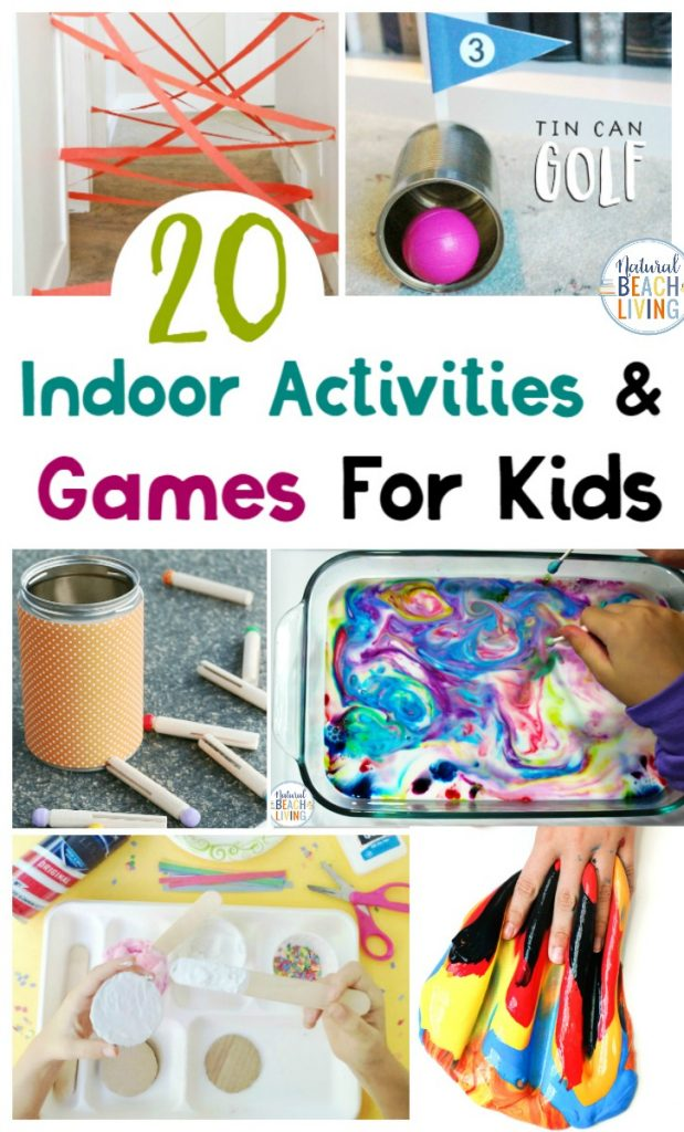 60+ Indoor Games and Activities for Kids, Here you'll find Indoor Activities that include Science, STEM, hands on learning, sensory play, Group Games for Kids, and more. Perfect for Rainy Day Activities, a Family Game Night, dealing with quarantine and fun indoor games for children of all ages.