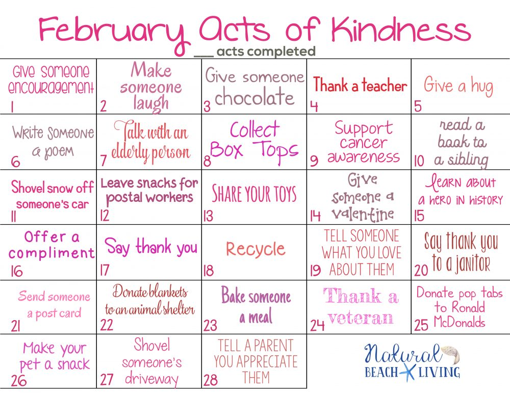 February Monthly Acts Of Kindness Calendars 2019 12+ Random Acts of Kindness Calendar for the Whole Year   Natural