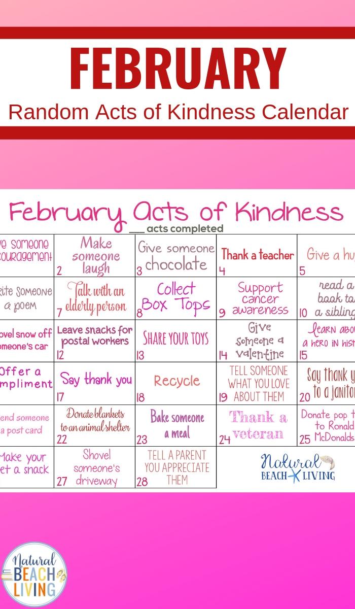 February Random Acts of Kindness Calendar