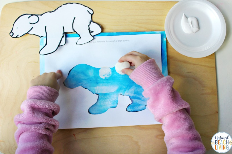 This Polar Bear Art for Preschoolers is an easy activity to add to your winter animal theme. Polar Bear Craft for Preschoolers and Arctic Activities for Preschoolers all in 1 place. You'll also get a free Polar Bear Template and Winter Animal Preschool Activities