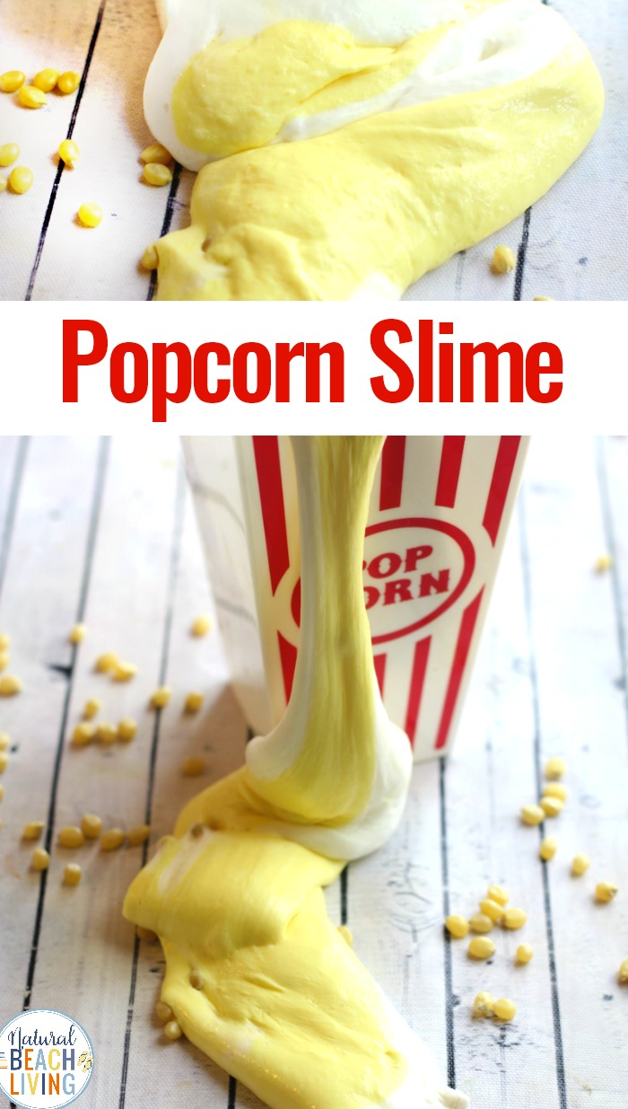 Popcorn Slime Recipe with Contact Solution, How to make slime with contact solution, If you have a slime lover in your house and you are looking for a fun NEW SLIME RECIPE , this is it! This Popcorn Slime Recipe is Amazing!  Slime Recipe with Contact Solution is one of our favorites, make it fluffy slime, scented slime, or jiggly slime, your child will love them all.