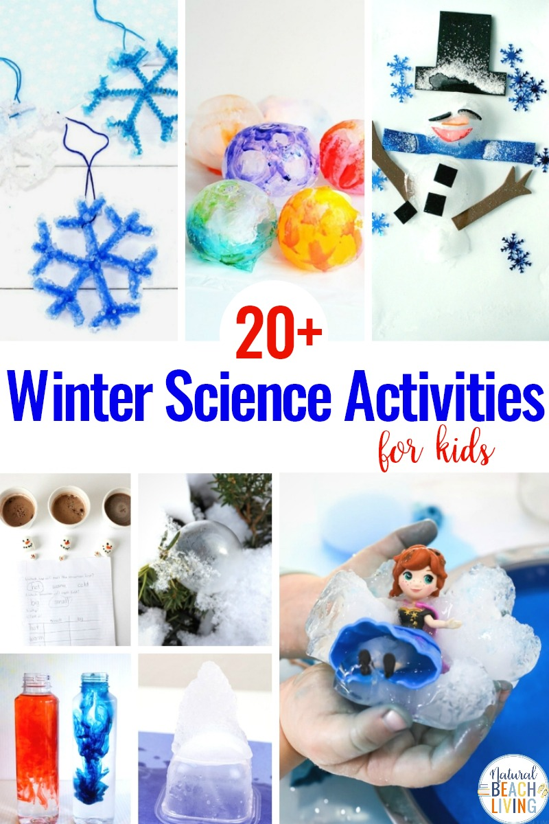 The Best Winter Science Activities and Experiments for kids. These fun hands-on learning science activities will have children Making Homemade snow, slime recipes, creating crystal snowflake ornaments, learning about winter animals and more. kids love these winter science experiments! Winter Science Activities for Kids, Kindergarten Science Experiments, Montessori Science Activities,