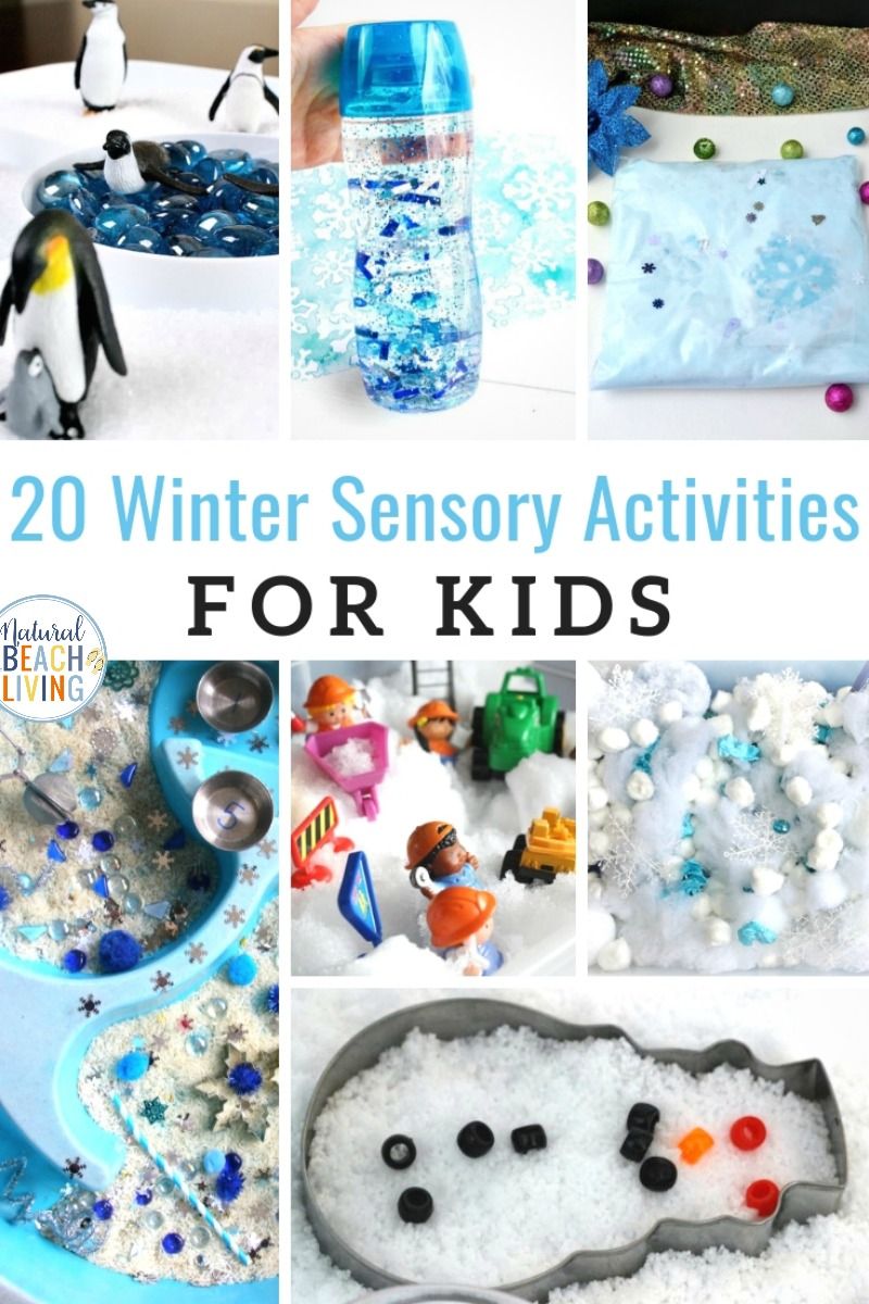25+ Winter Sensory Activities for Kids and Winter Theme Ideas bring the outside in with these Winter Sensory and Science Activities. Your children will love Winter Sensory Play Ideas. from homemade snow dough, melted snowman, snow slime recipes, ice Arctic sensory play, and more.